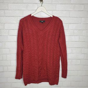 Mossimo Red V Neck Cable Knit Sweater